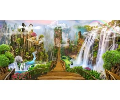 Фотообои Лестница вдоль водопадов