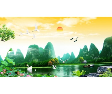 Фотообои Озеро и горы, панорама