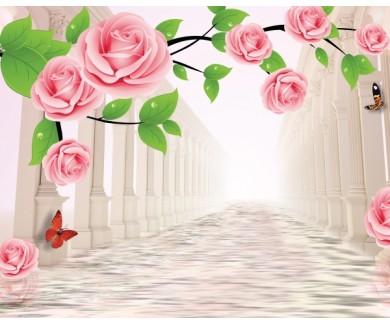 Фотообои Розы и колонны