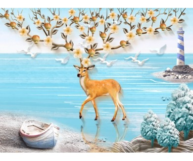 Фотообои Олень с цветущими рогами