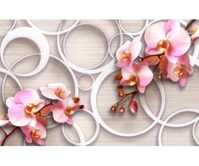 Фотообои Орхидеи на объемном фоне