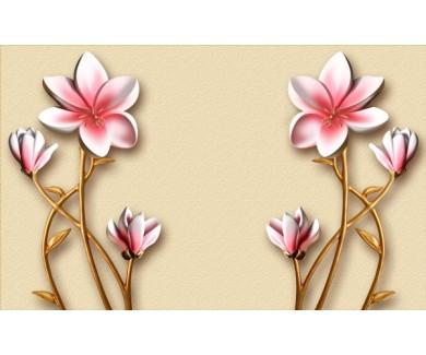 Фотообои Розово золотые цветы