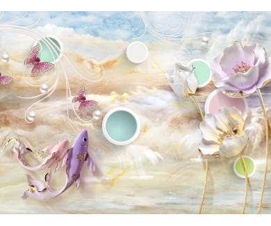 Фотообои Цветные круги на мраморном фоне