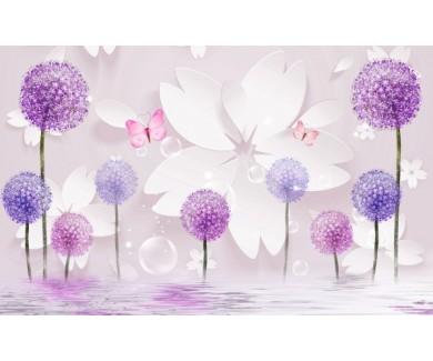 Фотообои Яркие одуванчики с цветами