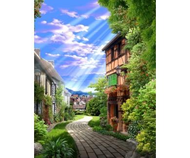 Фотообои Старая зеленая аллея с цветами
