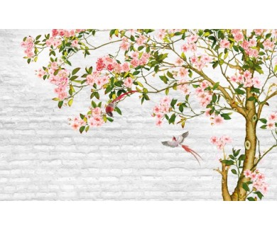 Фотообои Дерево на фоне кирпичной стены