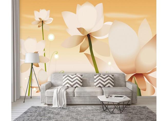 Фотообои Белые цветы на оранжевом фоне