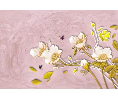 Фотообои Цветы на розовой стене