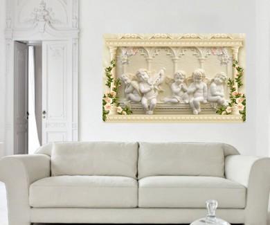 Наклейка на стену Ангелочки и цветы