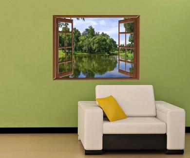 Наклейка на стену Вид из окна на лесное озеро