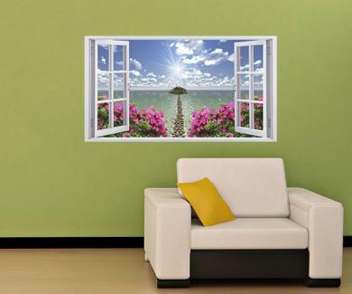 Наклейка на стену Вид из окна на райское место