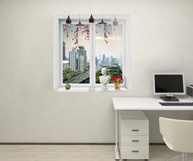 Наклейка на стену Вид на город из окна