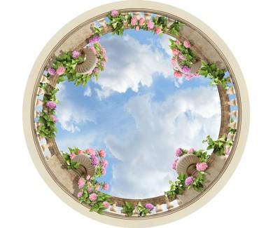 Наклейка на потолок Вазы с цветами на потолке