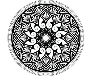 Наклейка на потолок Чёрно белый круг