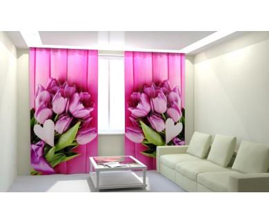 Букеты розовых тюльпанов