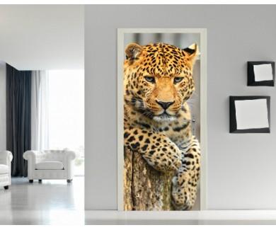 Наклейка на дверь Леопард