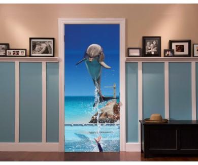 Наклейка на дверь Дельфин, прыгающий из воды