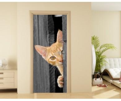 Наклейка на дверь Котёнок,выглядывающий из двери сарая