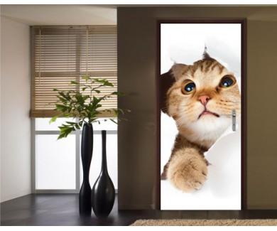 Наклейка на дверь Кошка, вылезающая из дыры