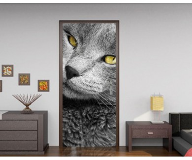 Наклейка на дверь Макро портрет красивого серого кота