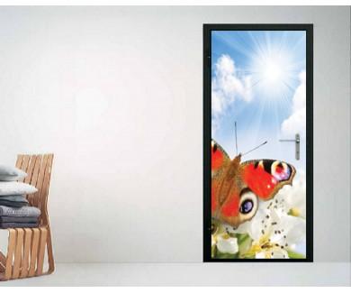 Наклейка на дверь Весна, цветок и бабочка