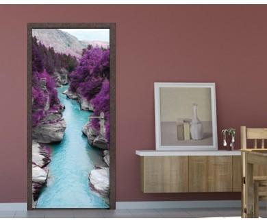 Наклейка на дверь Фиолетовый лес и голубая река