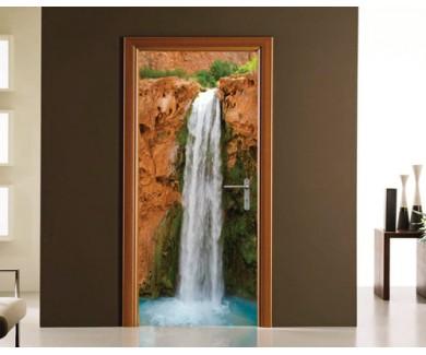 Наклейка на дверь Водопад в Гранд Каньоне
