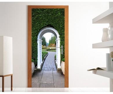 Наклейка на дверь Арка вход в легендарные сады Бутчартов, Канада