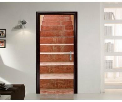 Наклейка на дверь Коричневая лестница