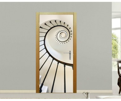 Наклейка на дверь Красивая крутая лестница