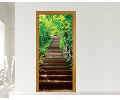 Наклейка на дверь Лестница в джунглинациональный парк Эраван