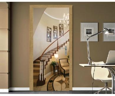 Наклейка на дверь Лестница в красивом домашнем интерьере