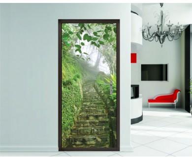 Наклейка на дверь Лестница в туманный тропический парк