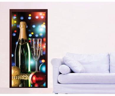 Наклейка на дверь Бутылка шампанского и бокал
