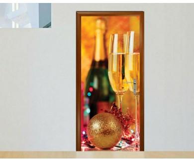Наклейка на дверь Два бокала с шампанским