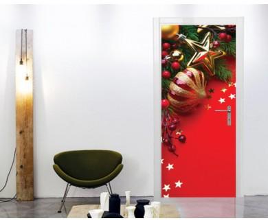 Наклейка на дверь Ёлочные игрушки на красном фоне
