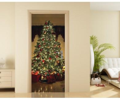 Наклейка на дверь Новогодняя ёлка