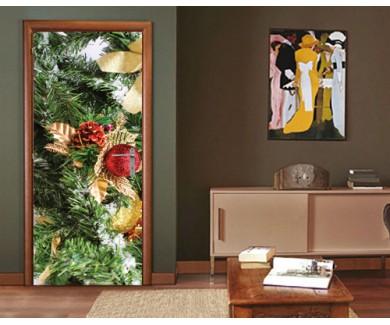 Наклейка на дверь Рождественская открытка