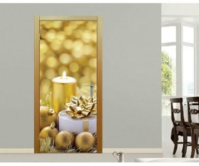 Наклейка на дверь С Рождеством и Новым годом