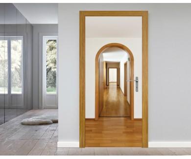 Наклейка на дверь Классический дом с арочными дверьми