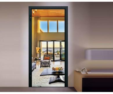 Наклейка на дверь Красивая гостиная с видом на роскошные дома