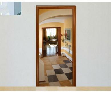 Наклейка на дверь Красивый современный интерьер