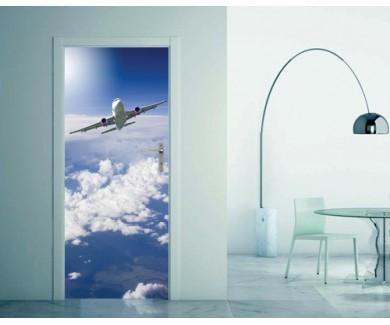 Наклейка на дверь Большой пассажирский самолёт в небе