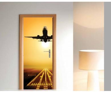 Наклейка на дверь Взлёт самолёта на закате