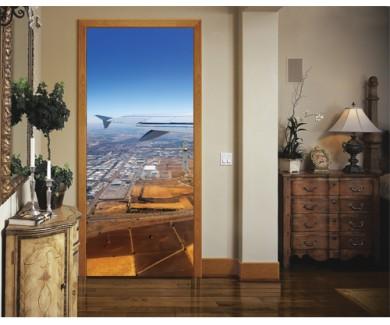 Наклейка на дверь Вид из окна самолёта