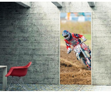 Наклейка на дверь Мотоцикл на вираже