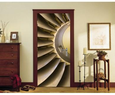 Наклейка на дверь Лопасть турбины самолёта