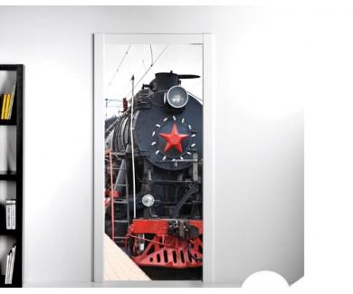Наклейка на дверь Старый паровоз, покидающий станцию