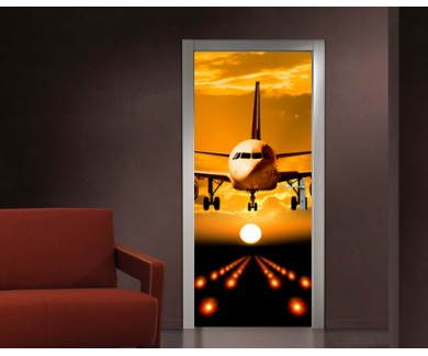 Наклейка на дверь Посадка самолёта на закате