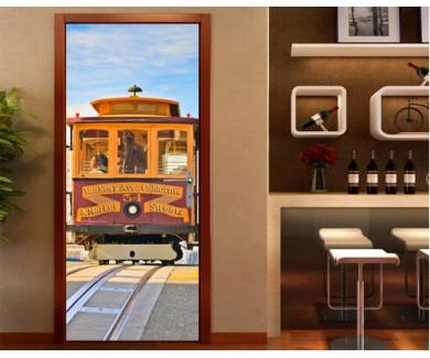 Наклейка на дверь Трамвай в Сан-Франциско